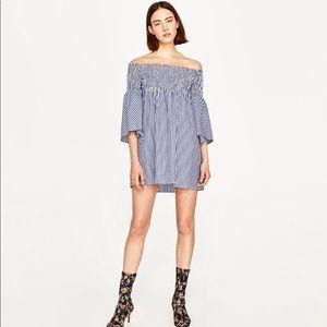 Zara Off Shoulder Striped Bell sleeve dress NWT